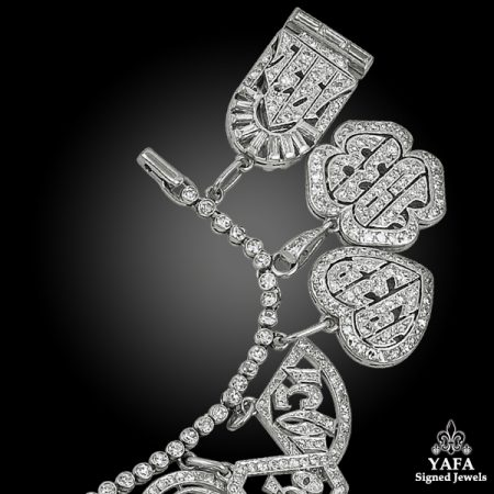 Art Deco Platinum Diamond Charm Bracelet