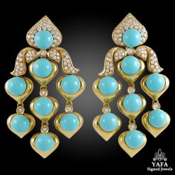 18k Diamond, Turquoise Chandelier Earrings