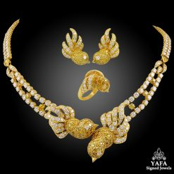 M.GERARD Fancy Yellow, White Diamond Bird Necklace Suite