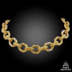 VAN CLEEF & ARPELS Diamond Hammered Link Necklace