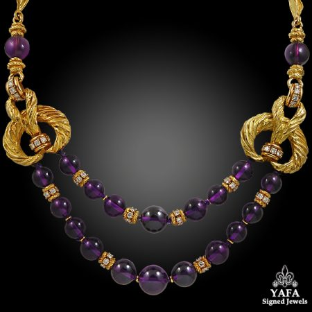 CHAUMET Diamond, Amethyst Bead Necklace & Earrings