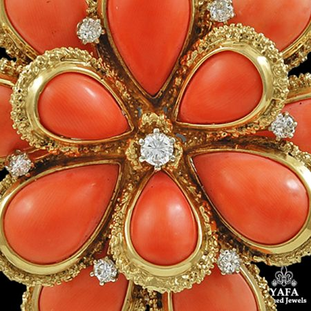 VAN CLEEF & ARPELS Diamond Coral Flower Pendant Brooch