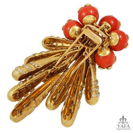 CARTIER Diamond Coral Movable Brooch