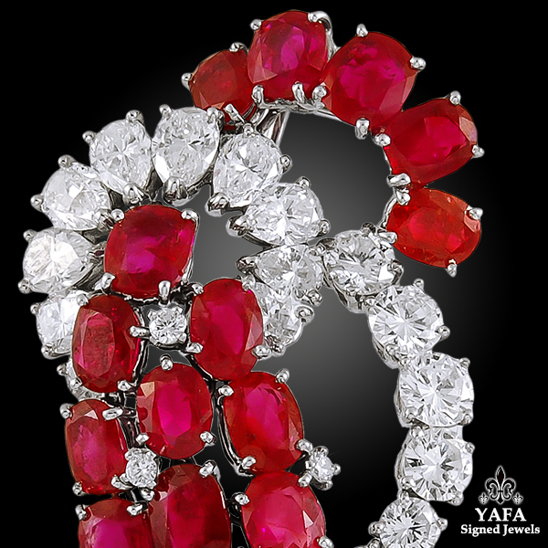 CARTIER Diamond, Burma No Heat Ruby Brooch