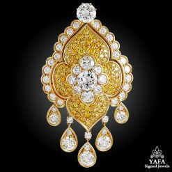 VAN CLEEF & ARPELS Fancy Yellow & White Diamond Brooch/Pendant