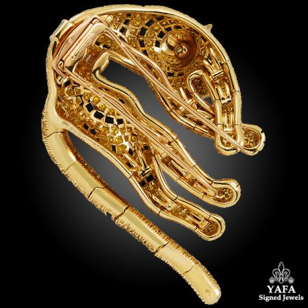 CARTIER Fancy Yellow, White Diamond, Onyx & Emerald Panther Brooch
