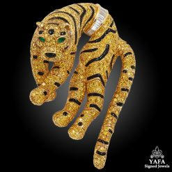 CARTIER Fancy Yellow, White Diamond, Onyx & Emerald Tiger Brooch