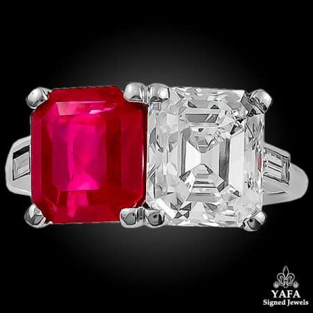 CARTIER Emerald-Cut Diamond & Burma Ruby Ring