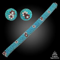 1960s Diamond, Turquoise, Ruby Bracelet & Earrings
