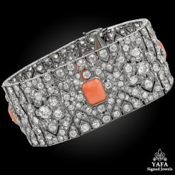 Art Deco Diamond Coral Articulated Bracelet