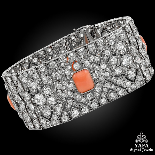 Art Deco Platinum Diamond & Coral Bracelet