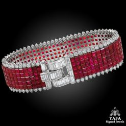VAN CLEEF & ARPELS Diamond, Five-Row Ruby Mystery-Set Bracelet