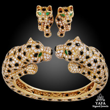 CARTIER Diamond, Emerald Onyx Two Head Panther Bangle & Ear Clips