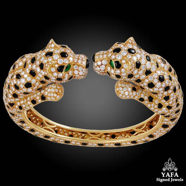 CARTIER Diamond, Emerald Onyx Two Head Panther Bangle and Ear Clips