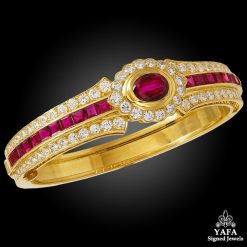 VAN CLEEF & ARPELS Diamond, Ruby Bangle