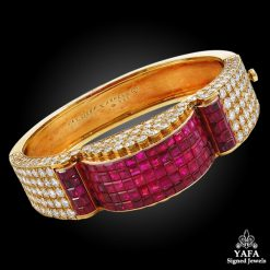 1970s Van Cleef & Arpels Diamond, Ruby Mystery-Set Bangle