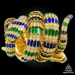 18k Yellow Gold Diamond, Green and Blue Enamel Snake Bracelet