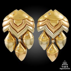 BULGARI Tri-Color Gold Diamond Fish Earrings