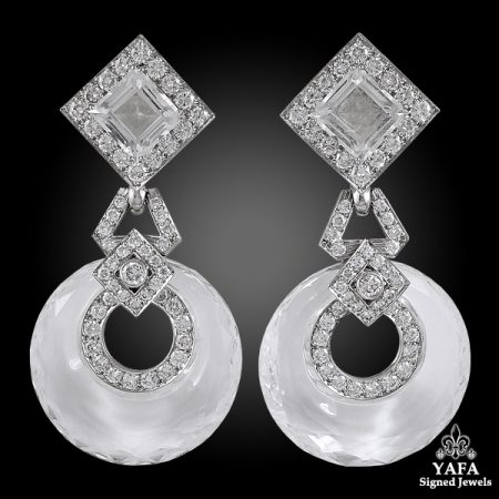 DAVID WEBB Two Tone Diamond, Crystal Earrings