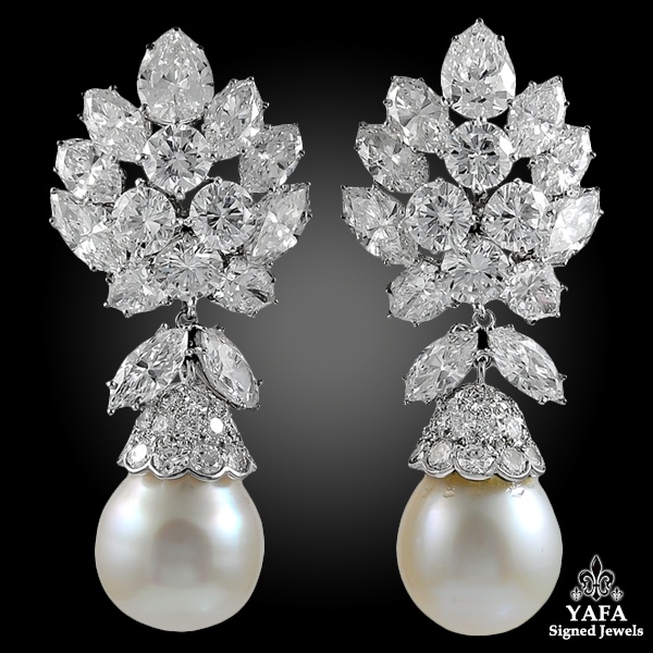 VAN CLEEF & ARPELS Diamond, South Sea Pearl Detachable Earrings
