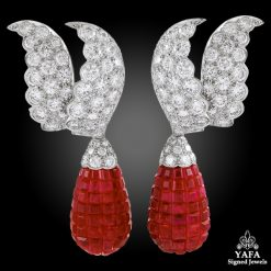 VAN CLEEF & ARPELS Diamond Ruby Detachable Mystery-set Ear Clips