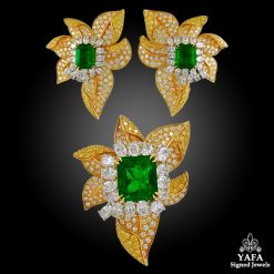 HARRY WINSTON Fancy Yellow, White Diamond and Emerald Earrings, Ring