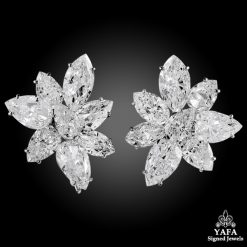 Platinum Pear, Marquise-Shaped Diamond Cluster Earrings