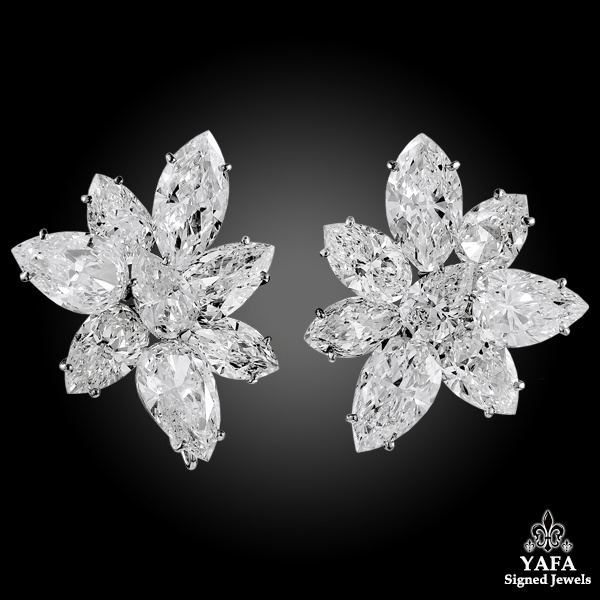 HARRY WINSTON Pear, Marquise-Shaped Diamond Cluster Earrings