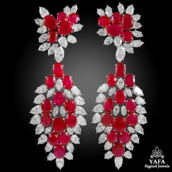 HARRY WINSTON Diamond, Burma Ruby Detachable Ear Clips