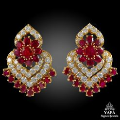 1970s VAN CLEEF & ARPELS Diamond, Ruby Ear Clips