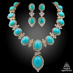 CHAUMET Paris Diamond, Cabochon Turquoise Necklace & Earrings
