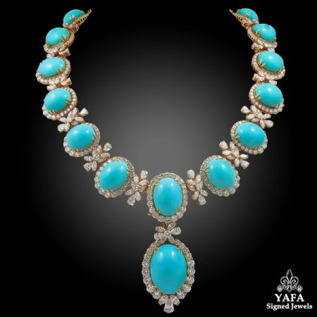 CHAUMET Paris Diamond, Cabochon Turquoise Necklace & Ear Clips