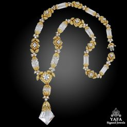 DAVID WEBB Two Tone Rock Crystal, Diamond Sautoir Necklace