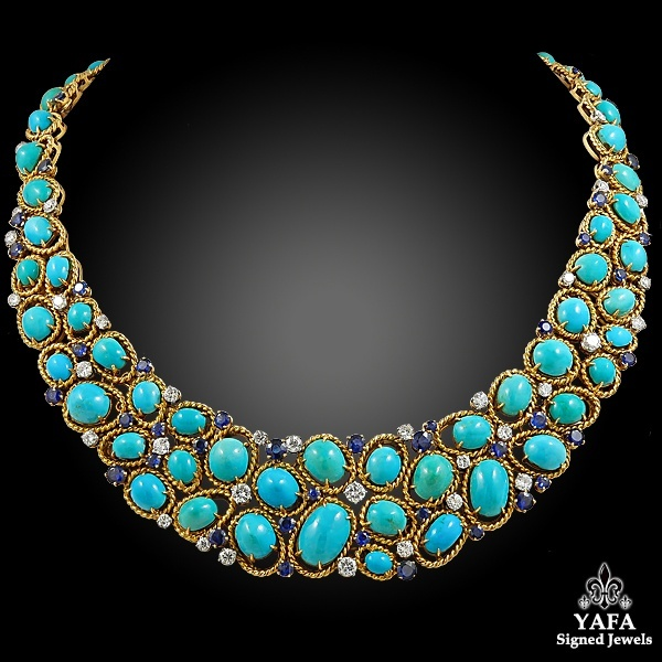 VAN CLEEF & ARPELS Two Tone Turquoise, Sapphire, Diamond Necklace