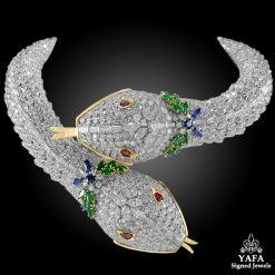 HARRY WINSTON Diamond Ruby Emerald Sapphire Two Head Serpenti Necklace