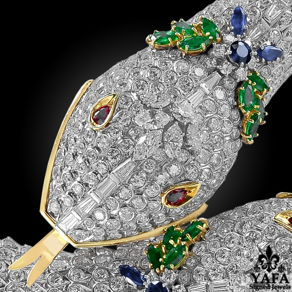 HARRY WINSTON Diamond, Ruby, Emerald, Sapphire Two Head Serpenti Necklace