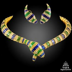 18k Gold Green/Blue Enamel Diamond Snake Necklace, Earrings
