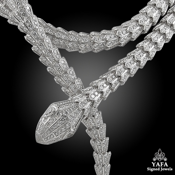 BULGARI Diamond Two Row Wrap Around Serpenti Necklace