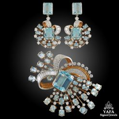 TRABERT & HOEFFER MAUBOUSSIN Diamond, Aquamarine Brooch & Earrings