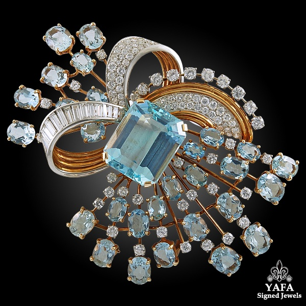 TRABERT& HOEFFER MAUBOUSSIN Diamond, Aquamarine Brooch & Earrings