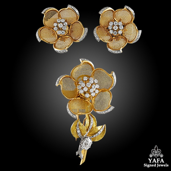 18k Yellow Gold Diamond Mesh Flower Brooch, Earrings