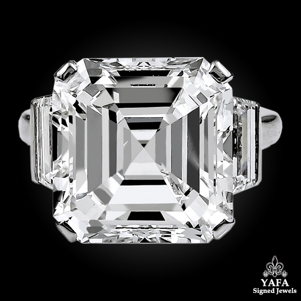 Contemporary Asscher Square Emerald Cut Diamond Ring 11.38 cts