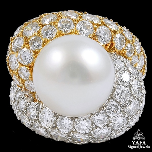 Platinum Diamond South Sea Pearl Dome Ring