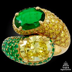 HARRY WINSTON Fancy Intense Yellow Diamond & Emerald Twin Ring