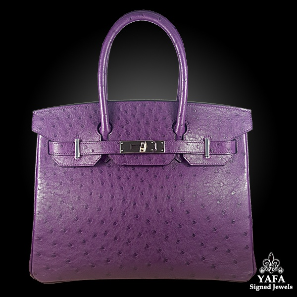 HERMES 30cm Ostrich Leather Birkin Bag Violet