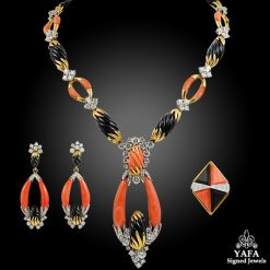 KUTCHINSKY Diamond, Coral, Onyx Necklace, Earrings, Ring