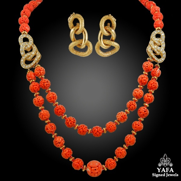 VAN CLEEF & ARPELS Carved Coral Beads, Diamond Necklace & Earrings