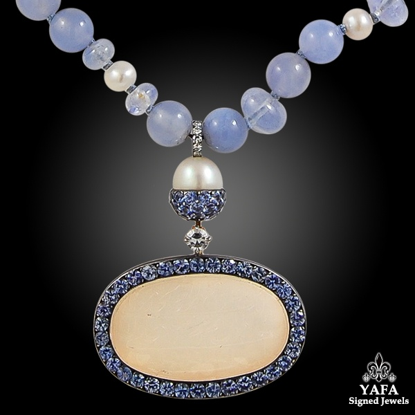 JAR 18k Rose Gold Sapphire, Chalcedony, Diamond Necklace
