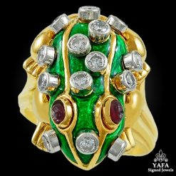 DAVID WEBB Diamond, Ruby Green Enamel Frog Ring