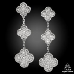 VAN CLEEF & ARPELS Diamonds Magic Alhambra 3 Motif Earrings